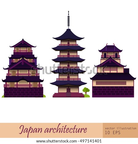 Japan architecture. Vector illustration, eps10. Japan Pagoda isolated set.