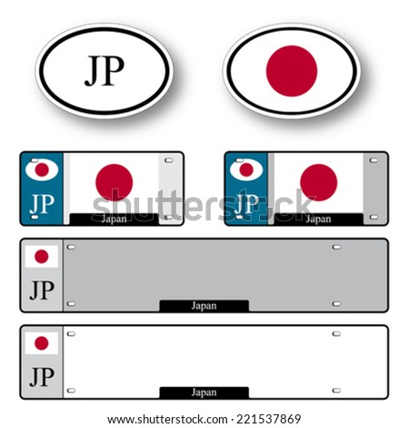 japan auto set against white background, abstract vector art illustration, image contains transparency - stock vector