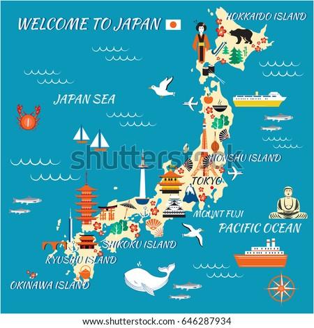 Japan Cartoon Travel Map Vector Illustration Stock Vector - Japan map vector free download