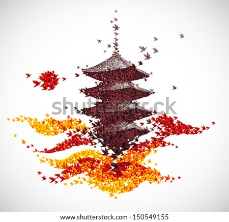 Japan castle autumn landscape - abstract background vector - stock vector