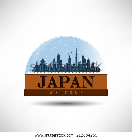 Japan, city skyline silhouette in snow globe. Vector design. - stock vector