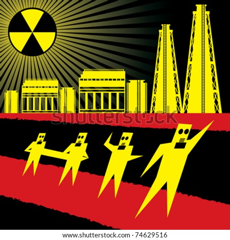 japan concept, disaster on reactor after earthquake - stock vector