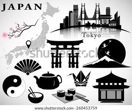 Japan detailed set: symbols, map, Tokyo skyline, icons. Isolated vector illustration. - stock vector