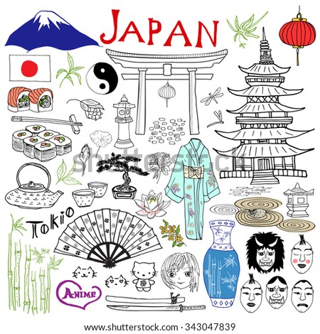 Japan doodles elements. Hand drawn set with Fujiyama mountain, Shinto gate, Japanese food sushi and tea set, fan, theater masks, katana, pagoda, kimono. Drawing doodle collection, isolated on white  - stock vector
