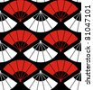 Japan fan abstract background in red, white and black. Vector file also available. - stock vector