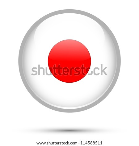 Japan flag button isolated on white - stock vector