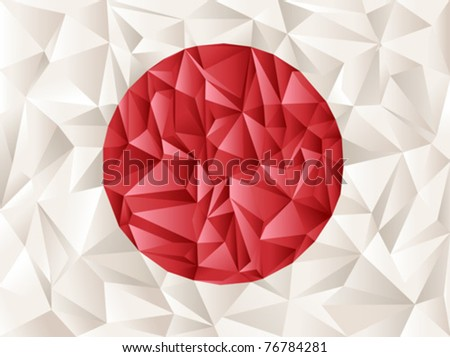 japan flag origami creative idea - great background for social designs - stock vector