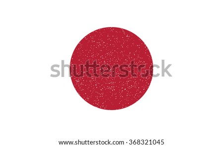 Japan flag. Red circle have small hole texture. Design in style of red stamp.Red circle isolated on white.