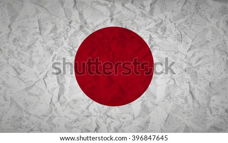 Japan  flag with the effect of crumpled paper and grunge