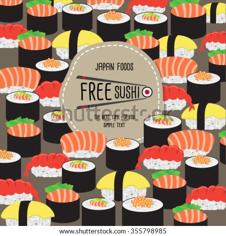 Japan Food Voucher Template Design Stock Vector