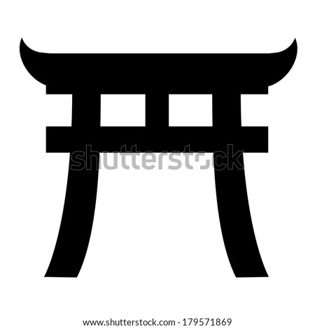 Japan gate - culture icon isolated on white background. VECTOR illustration. - stock vector