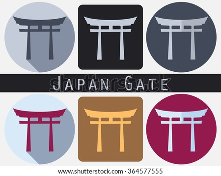 Japan Gate. Torii gate. Flat. Shinto. Historical monument. - stock vector