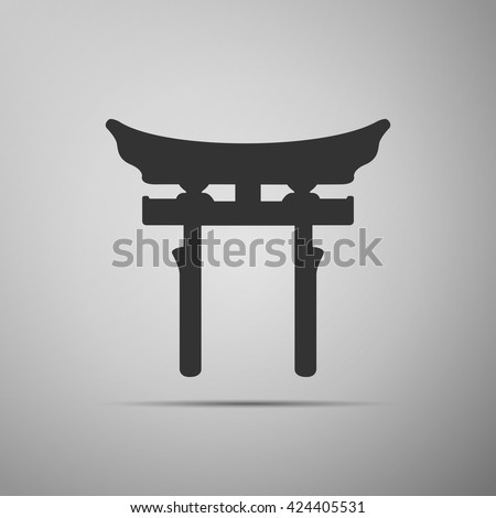 Japan Gate. Torii gate icon on grey background. Vector Illustration - stock vector