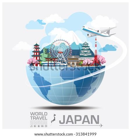 Japan Landmark Global Travel And Journey Infographic Vector Design Template - stock vector