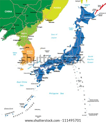 Japan map - stock vector