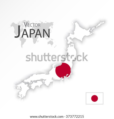 Japan ( map and flag )( transportation and tourism concept ) - stock vector