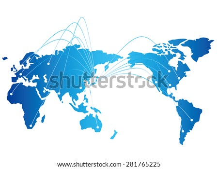Japan map network Vector - stock vector