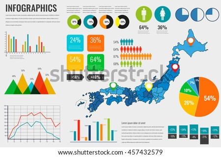 Japan map with Infographics elements. Infographics layouts. Vector illustration - stock vector