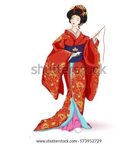 Japan National doll Hina Ningyo in a red kimono with pattern of gold lilies. A character in a cartoon style. Vector illustration on white background. Isolated.