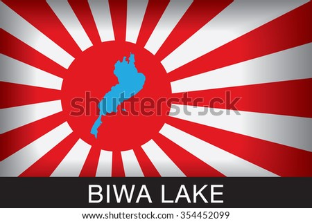 Japan Navy Flag An Navy Flag Japan with red background and message, Biwa Lake and map, vector art image illustration  - stock vector