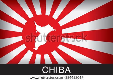 Japan Navy Flag An Navy Flag Japan with red background and message, Chiba and map, vector art image illustration  - stock vector