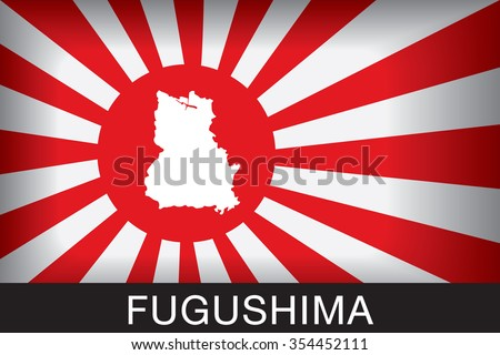 Japan Navy Flag An Navy Flag Japan with red background and message, Fukushima and map, vector art image illustration - stock vector
