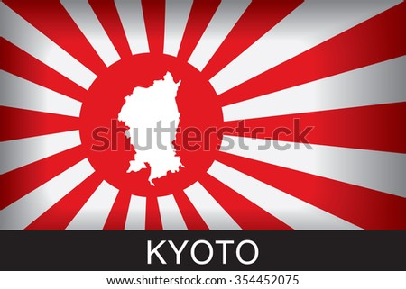 Japan Navy Flag An Navy Flag Japan with red background and message, Kyoto and map, vector art image illustration  - stock vector