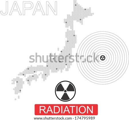Japan, nuclear power, nuclear disaster, earthquake - stock vector