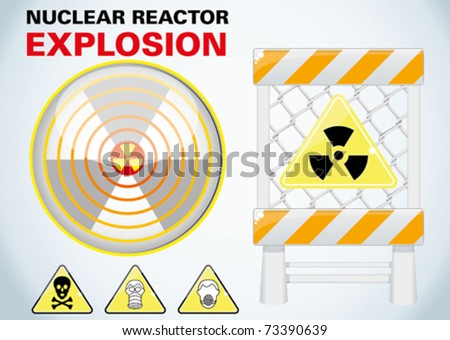 japan nuclear reactor explosion - stock vector