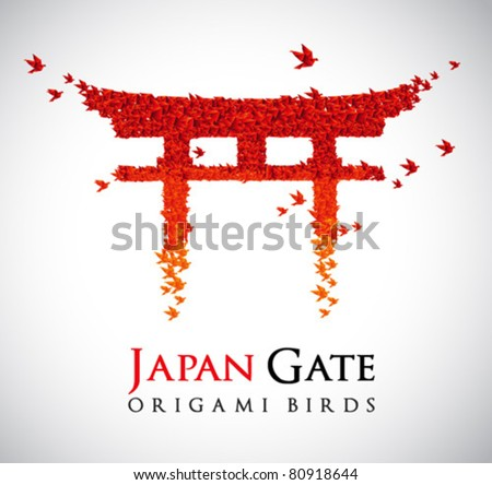 Japan origami gate Torii shaped from flying birds - stock vector