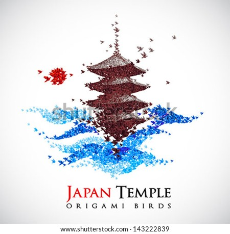 Japan origami paper art - castle shaped from flying paper birds - vector - stock vector