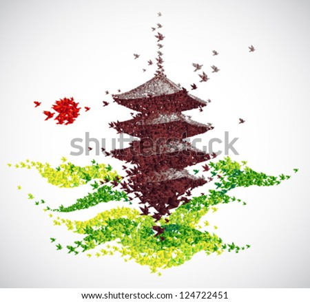 Japan origami temple shaped from flying birds - spring concept - vector - stock vector