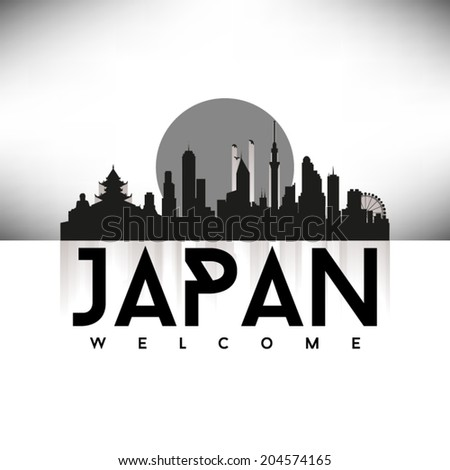 Japan Skyline Silhouette Black design, vector illustration. - stock vector
