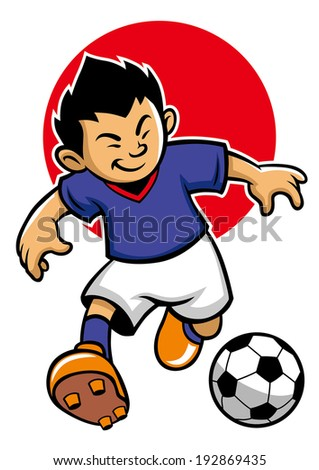 Japan soccer player with flag background