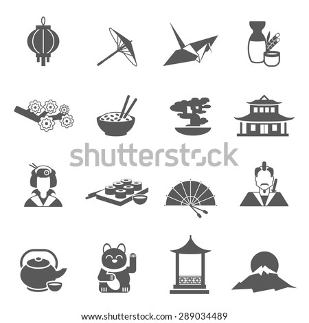 Japan symbols gray silhouette flat icon set isolated vector illustration