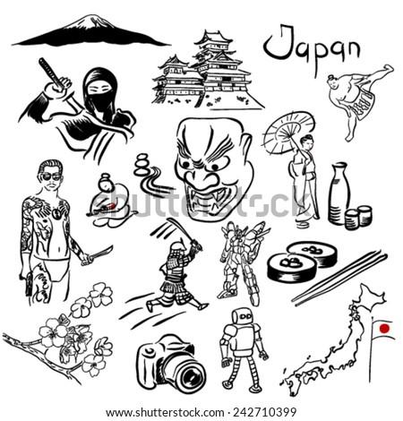 Japan symbols vector set - stock vector