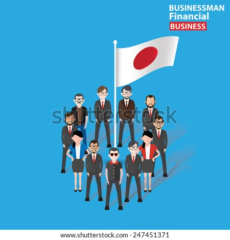 Japan teamwork,character design on blue background,clean vector - stock vector