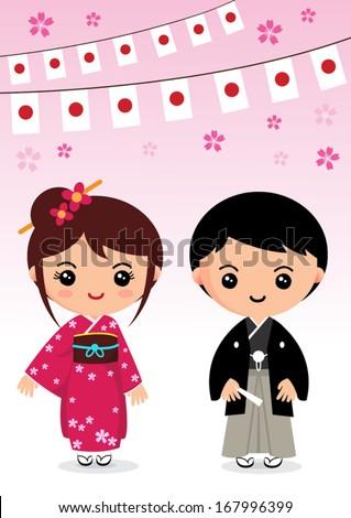 japan traditional costume, kimono, Japanese cartoon - stock vector