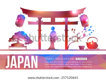 Japan travel background with place for text. Isolated Japan shining sightseeings and symbols. Geometric and blurred style design. Vector illustration. - stock vector