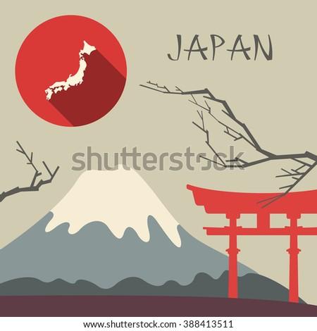 Japan travel illustration - stock vector
