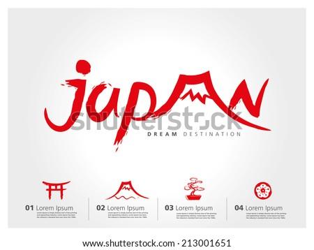 Japan travel set, Fuji Mountain, typography - stock vector