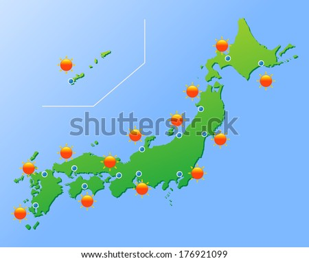 Japan weather map, vector illustration - stock vector