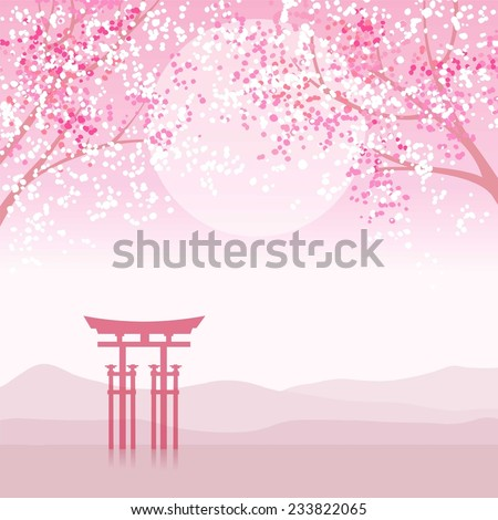 Japanese animation landscape. - stock vector