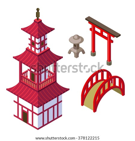 Japanese architecture isometric set with shinto temple,gates, garden lantern, and japanese bridge. Japanese temple. Old japanese architecture. Japanese religion. Japanese tower. Japanese building. - stock vector