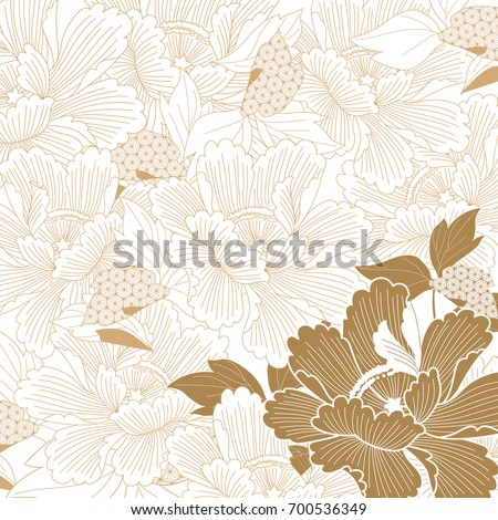 Japanese background vector. Gold flower pattern.