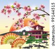 Japanese background with sakura blossom- Japanese cherry tree, symbol of oriental culture.  Japanese landscape, vector illustration. - stock vector