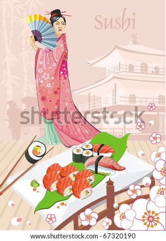 Japanese Beautiful woman in a kimono with a fan and East motives. Seafood set of sashimi on rectangular white plate - traditional Japanese food with chop sticks, vector illustration. - stock vector