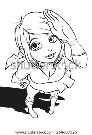 Japanese cartoon style superhero girl. - stock vector