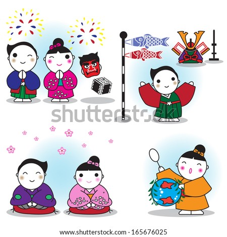 Japanese characters illustration - stock vector
