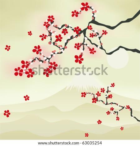 Japanese Cherry Blossom. Illustration vector. - stock vector